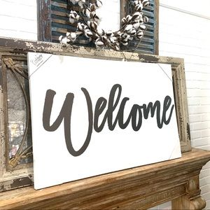 """""""Welcome"""" Leather Wall Art"""